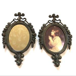 1950s Vintage Brass Oval Frames Ornate Filigree